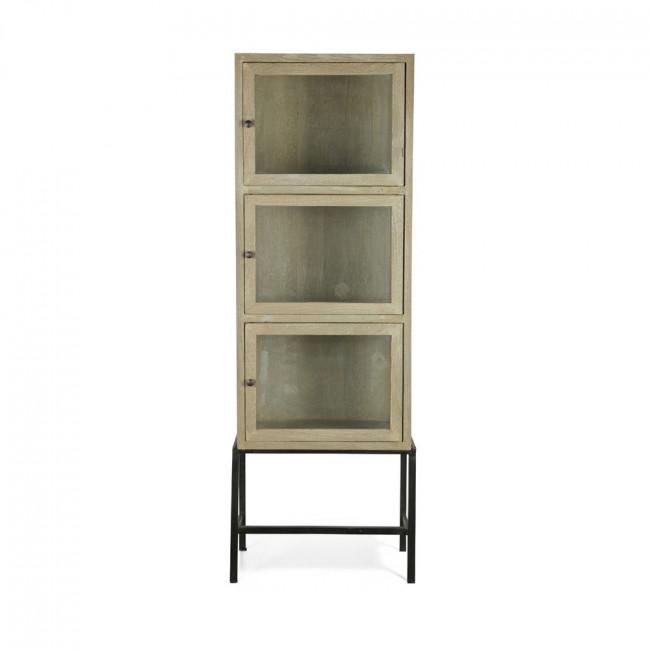 Armoire design industriel 3 portes verre et bois Showcase