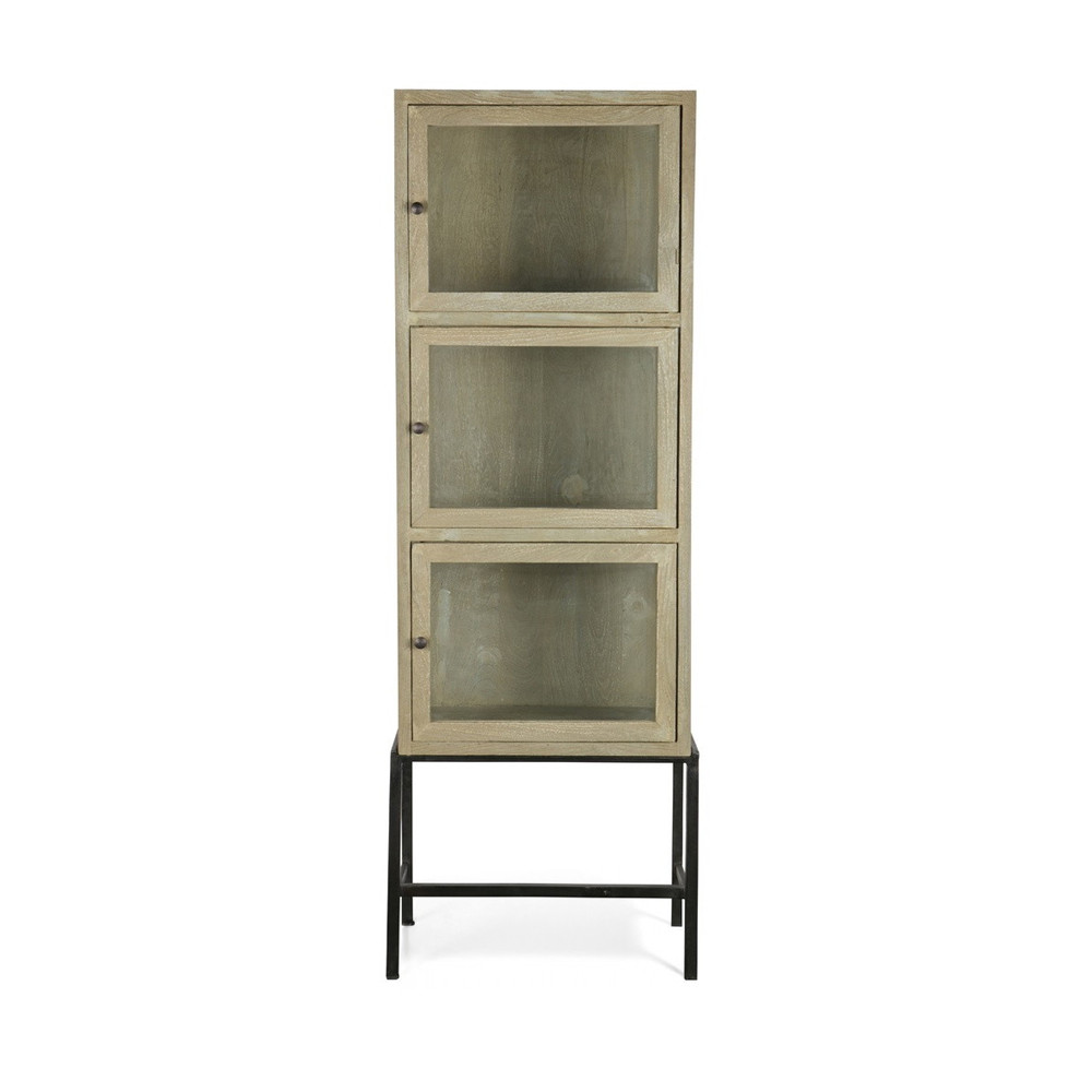 armoire design industriel 3 portes verre et bois showcase by drawer. Black Bedroom Furniture Sets. Home Design Ideas