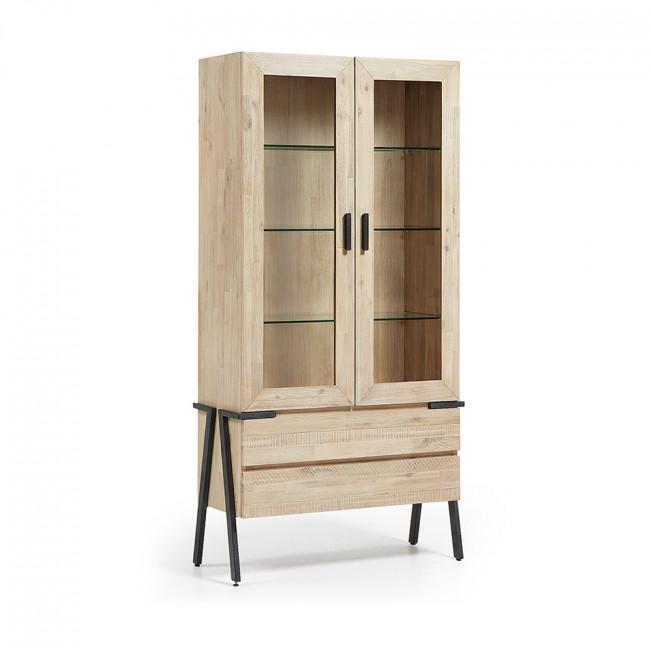 Vitrine industrielle bois massif et métal 2 tiroirs 2 portes Spike