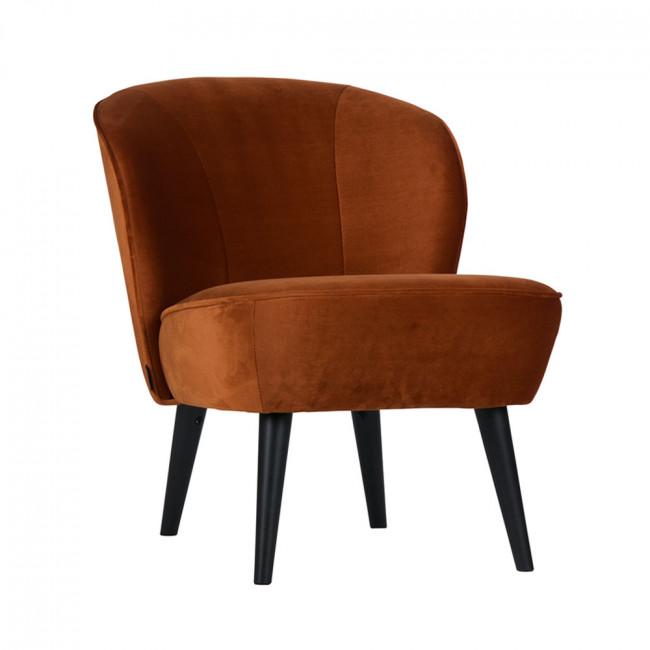 Fauteuil velours Sara rouille