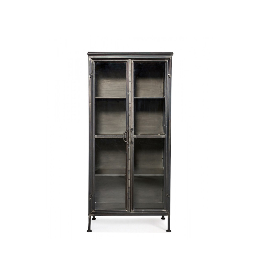 biblioth que vintage en m tal et portes en verre puristic par. Black Bedroom Furniture Sets. Home Design Ideas