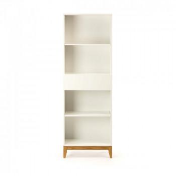 Bibliothèque design blanc et bois Blanco