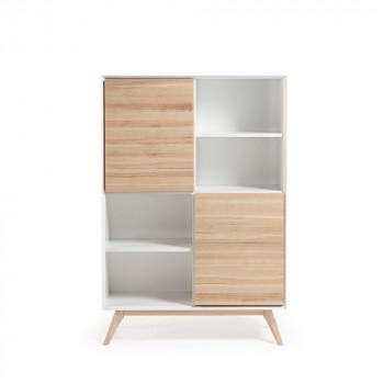 Bibliothèque design blanc et bois de frêne avec portes Joshua