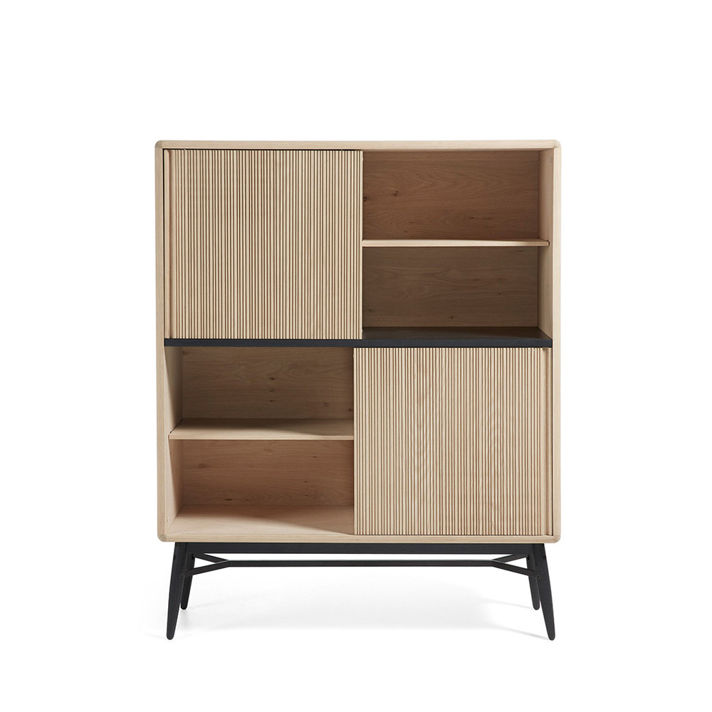 biblioth que bois ch ne 2 portes coulissantes 120x150 ray. Black Bedroom Furniture Sets. Home Design Ideas
