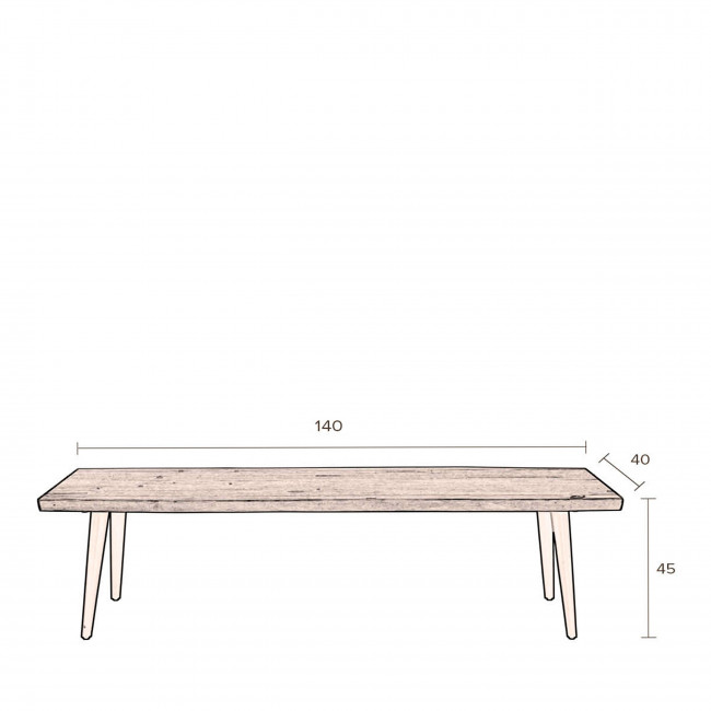 Banc design en bois noyer 140cm Alagon Dutchbone