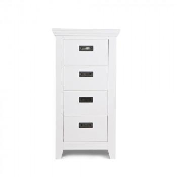 Commode design 4 tiroirs pin massif blanc Perpignan