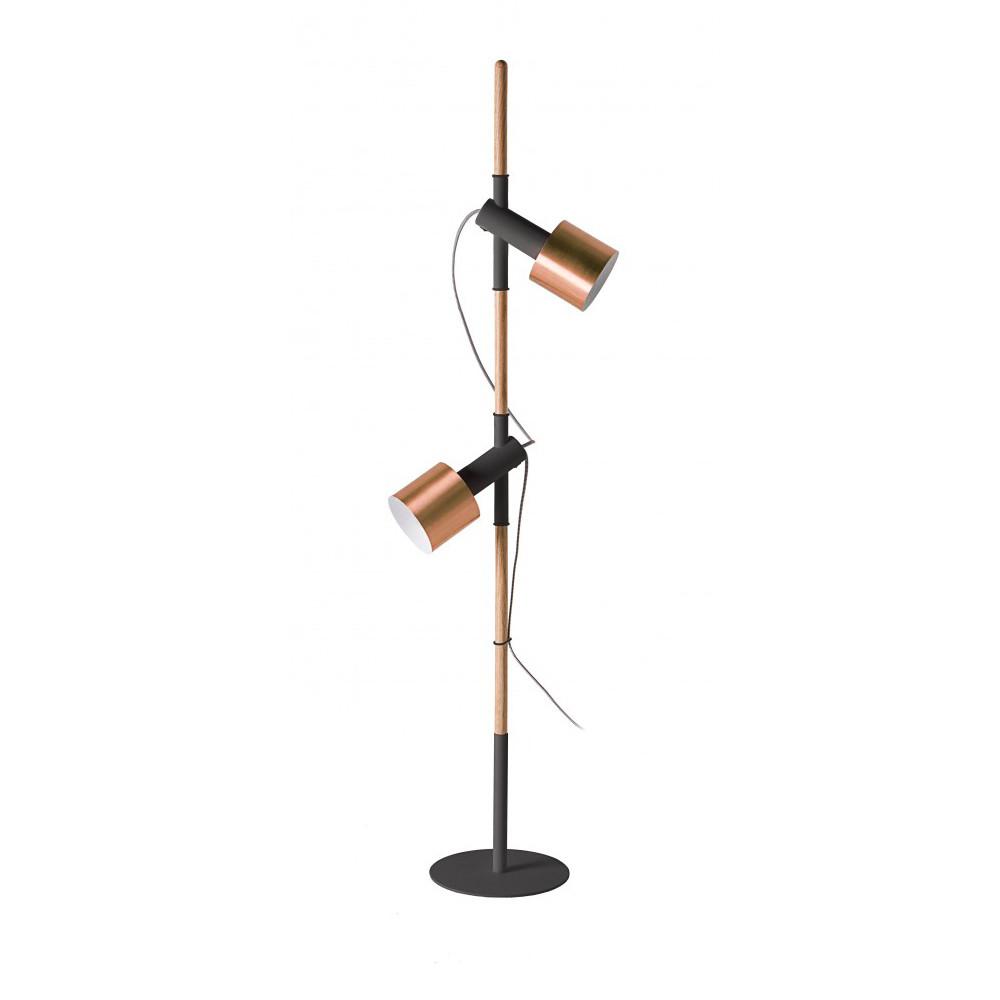 Lampadaire cuivre bois et m tal pole by drawer for Lampadaire interieur bois