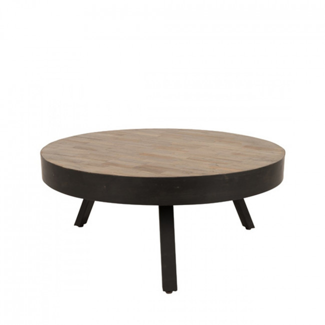Table basse ronde Ø74 cm en teck recyclé Suri Large