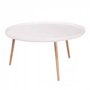 Table basse ronde Kompass Ø90 blanche