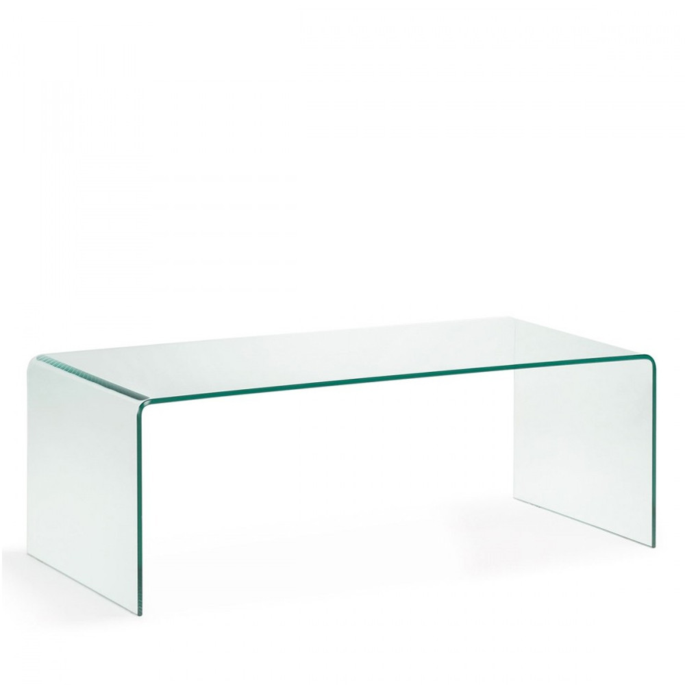 Table basse en verre tremp transparent burano par for Table tv en verre