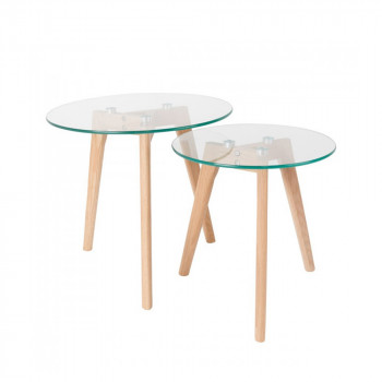 Set de 2 tables basses scandinaves verre et chêne Bror
