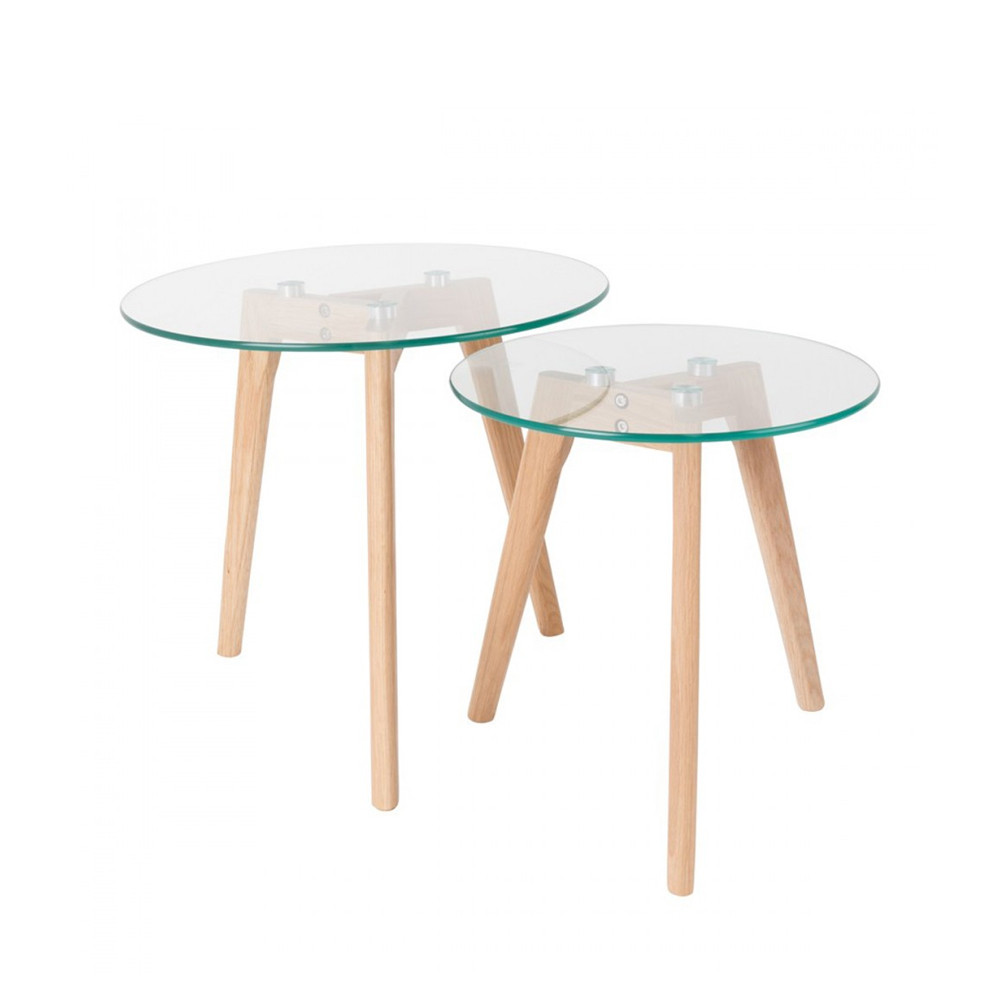 Tables basses scandinaves x2 verre et ch ne bror for Table basse chene et verre