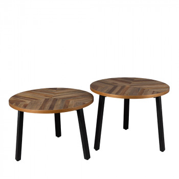 Lot de 2 tables basse bois recyclé Mundu