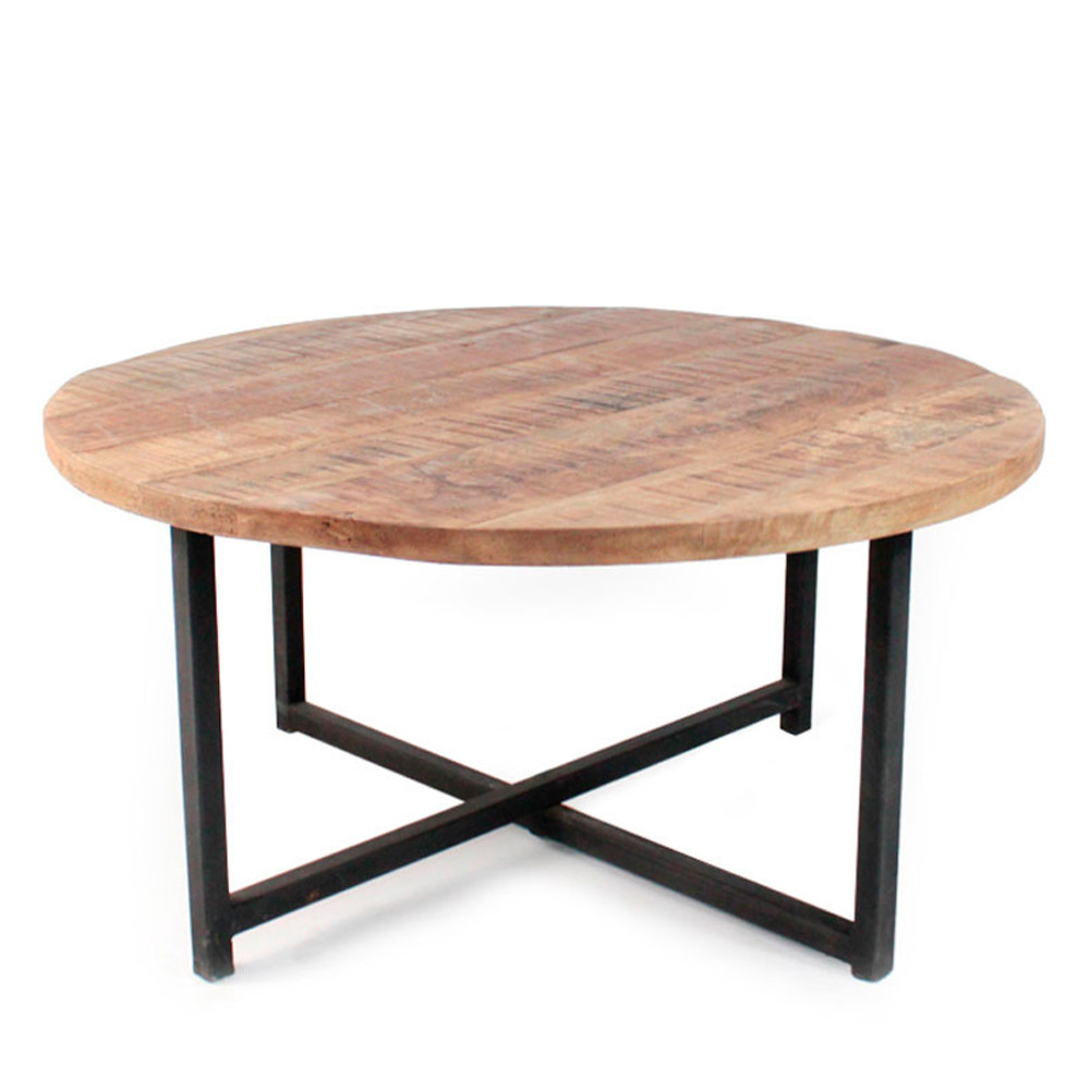 table basse ronde bois et m tal 80 dock drawer. Black Bedroom Furniture Sets. Home Design Ideas