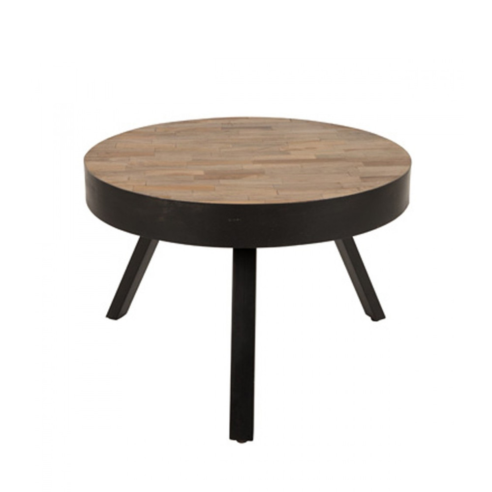 table basse ronde 58 cm en teck recycl suri medium. Black Bedroom Furniture Sets. Home Design Ideas