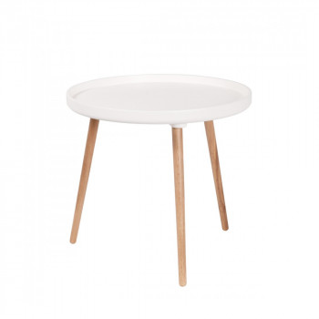 Table basse ronde Kompass Ø55 haute blanc