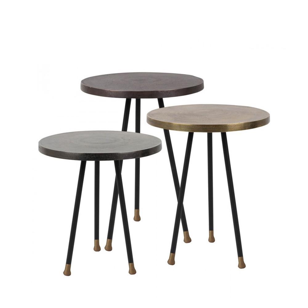 Set 3 tables d 39 appoint vintage cuivre laiton acier for Table d appoint exterieur