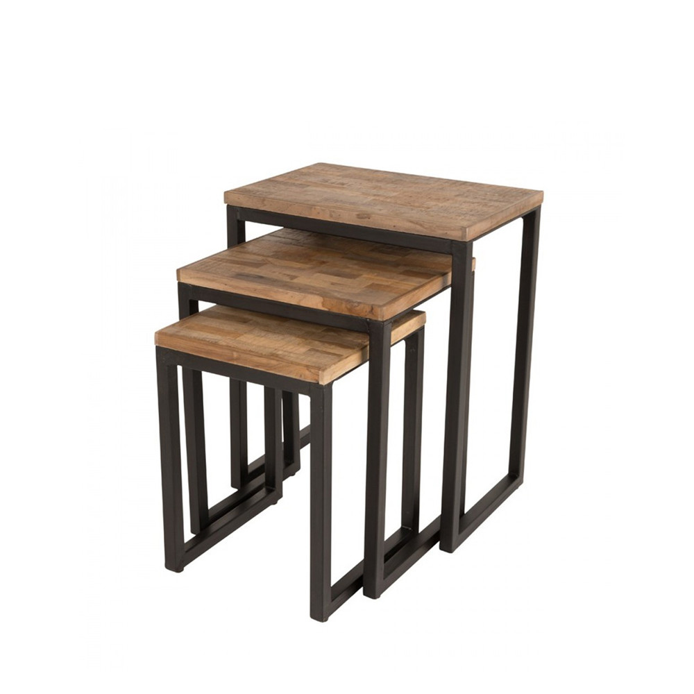 Set de 3 tables basses gigognes en teck recycl suri for Table cuisine teck