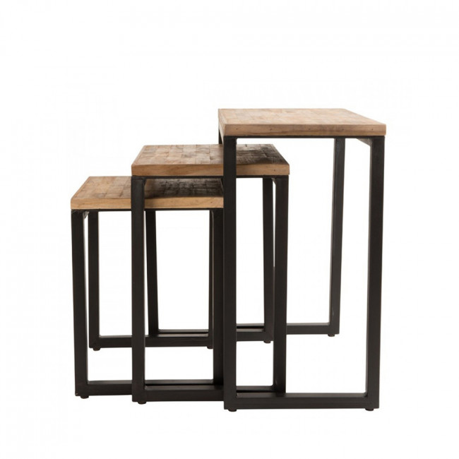 Set de 3 tables gigognes en teck recyclé Suri