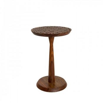 Table basse ronde bois gravé Sheesham