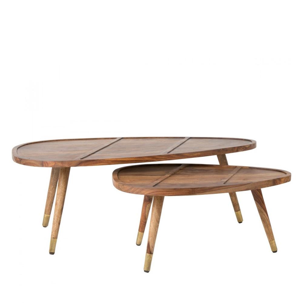 Set de 2 tables basses en palissandre sham par for Table en palissandre massif