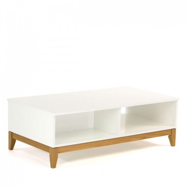 Table basse design 2 niches Blanco