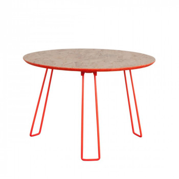 Table basse ronde jaune fluo OSB