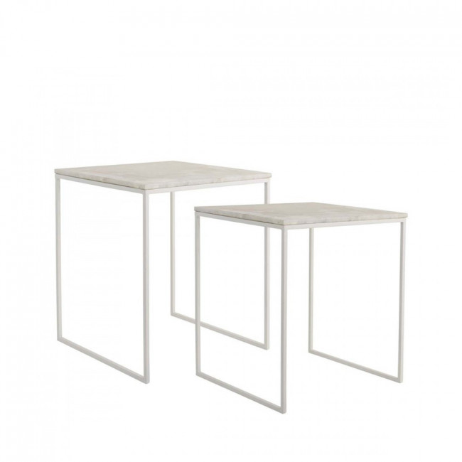 Lot de 2 tables basses design carrées métal et marbre Bloomingville