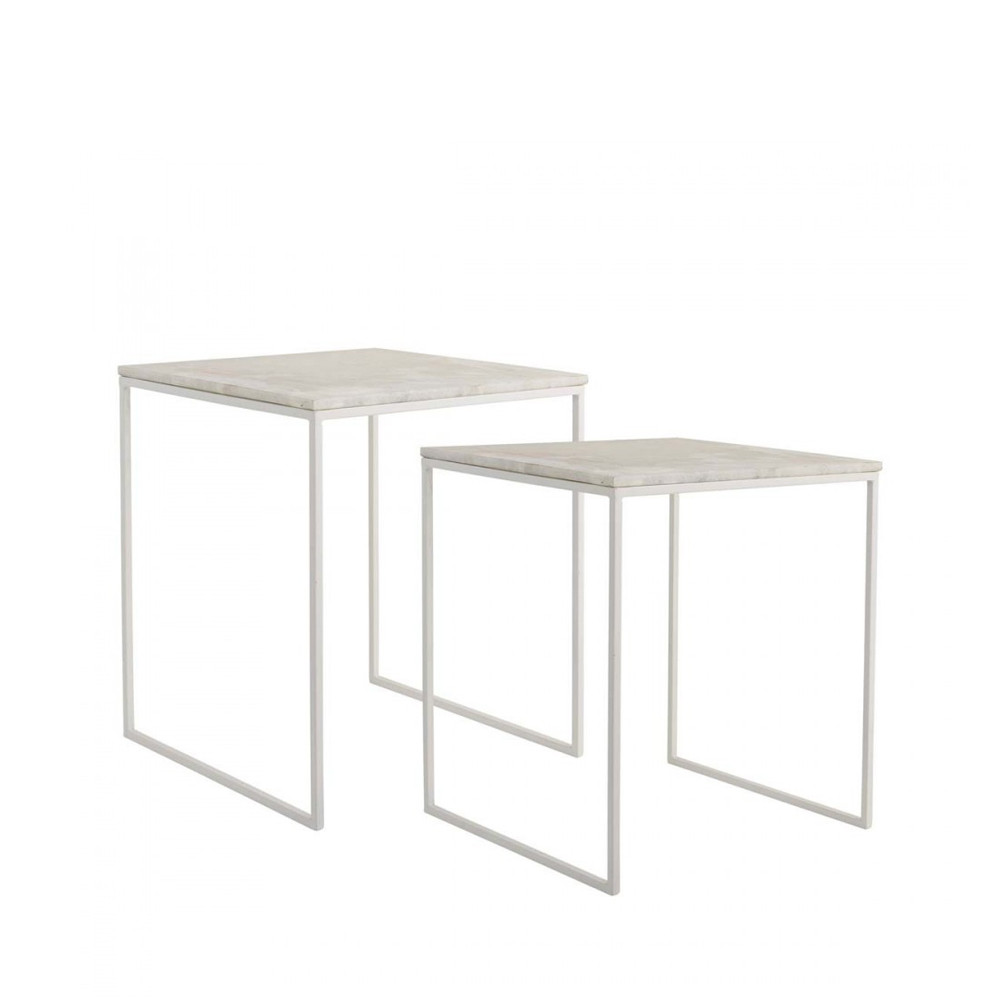 Gavl - Lot de 2 tables basses marbre et métal Bloomingville