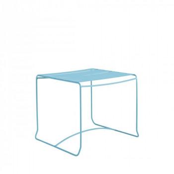 Table basse de jardin métal 50x50 Pasadena blanche