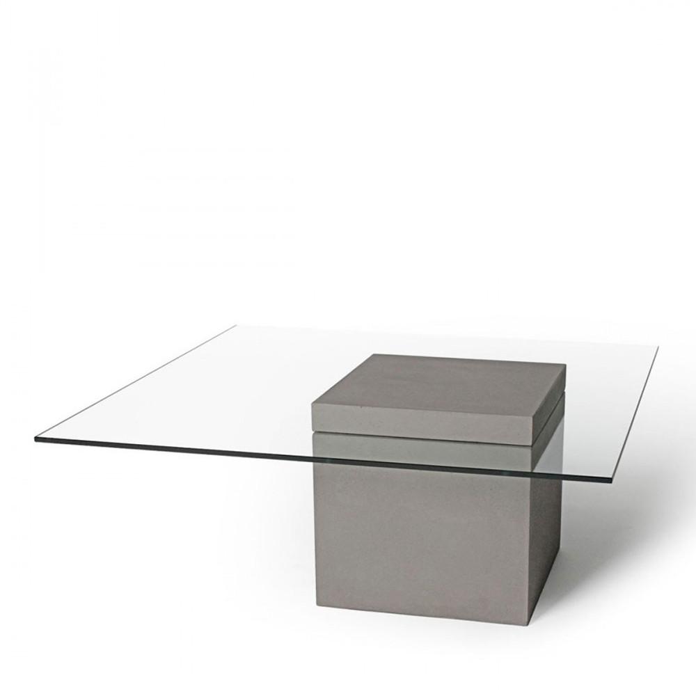 table basse carr e en verre et b ton verveine by drawer. Black Bedroom Furniture Sets. Home Design Ideas