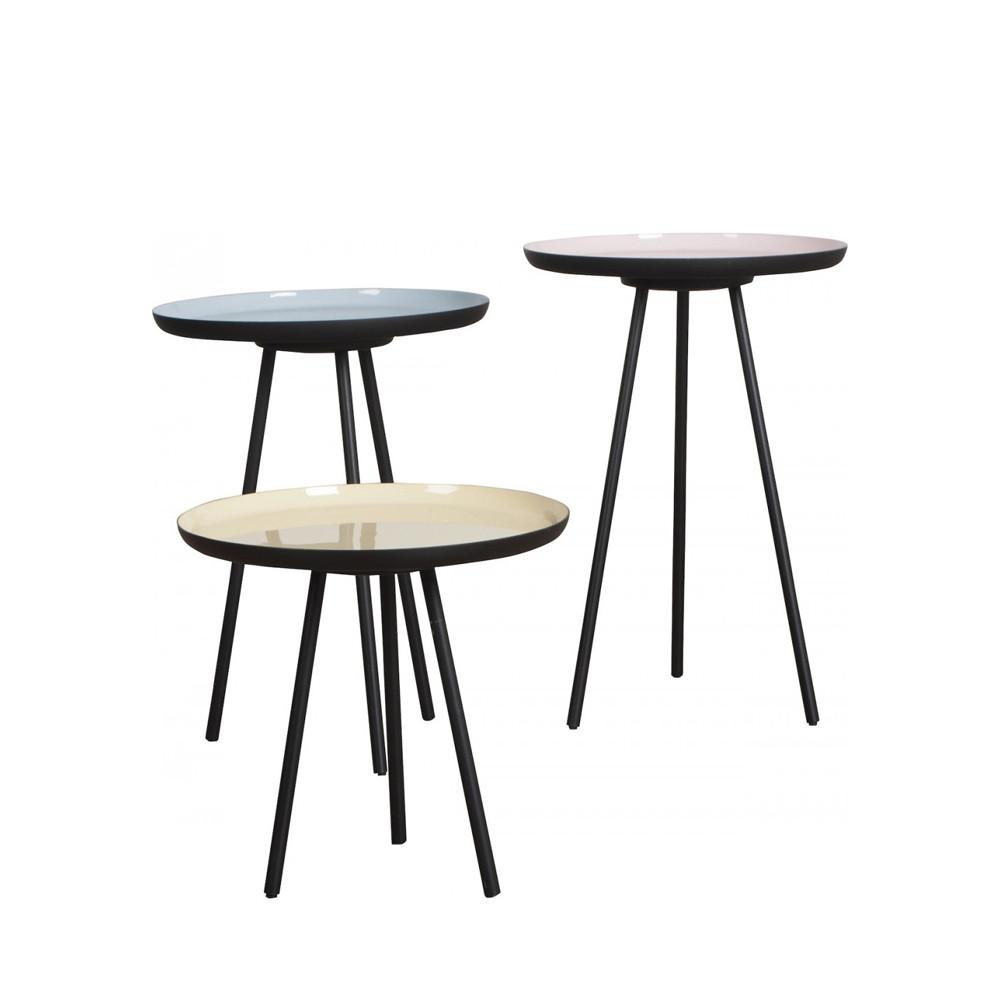 lot de 3 tables basses fifties enamel zuiver. Black Bedroom Furniture Sets. Home Design Ideas