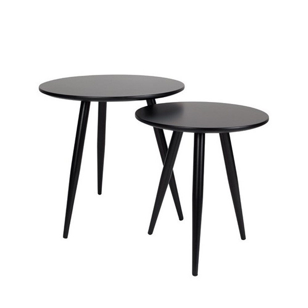 Lot de 2 tables d 39 appoint laqu es daven for Table d appoint fly