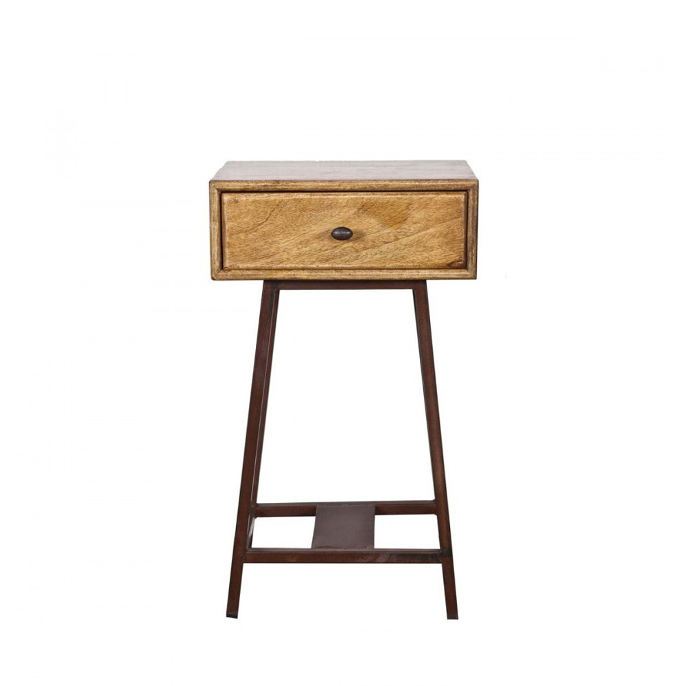 Table d 39 appoint bois m tal vintage frem par drawer for Table exterieur bois et metal
