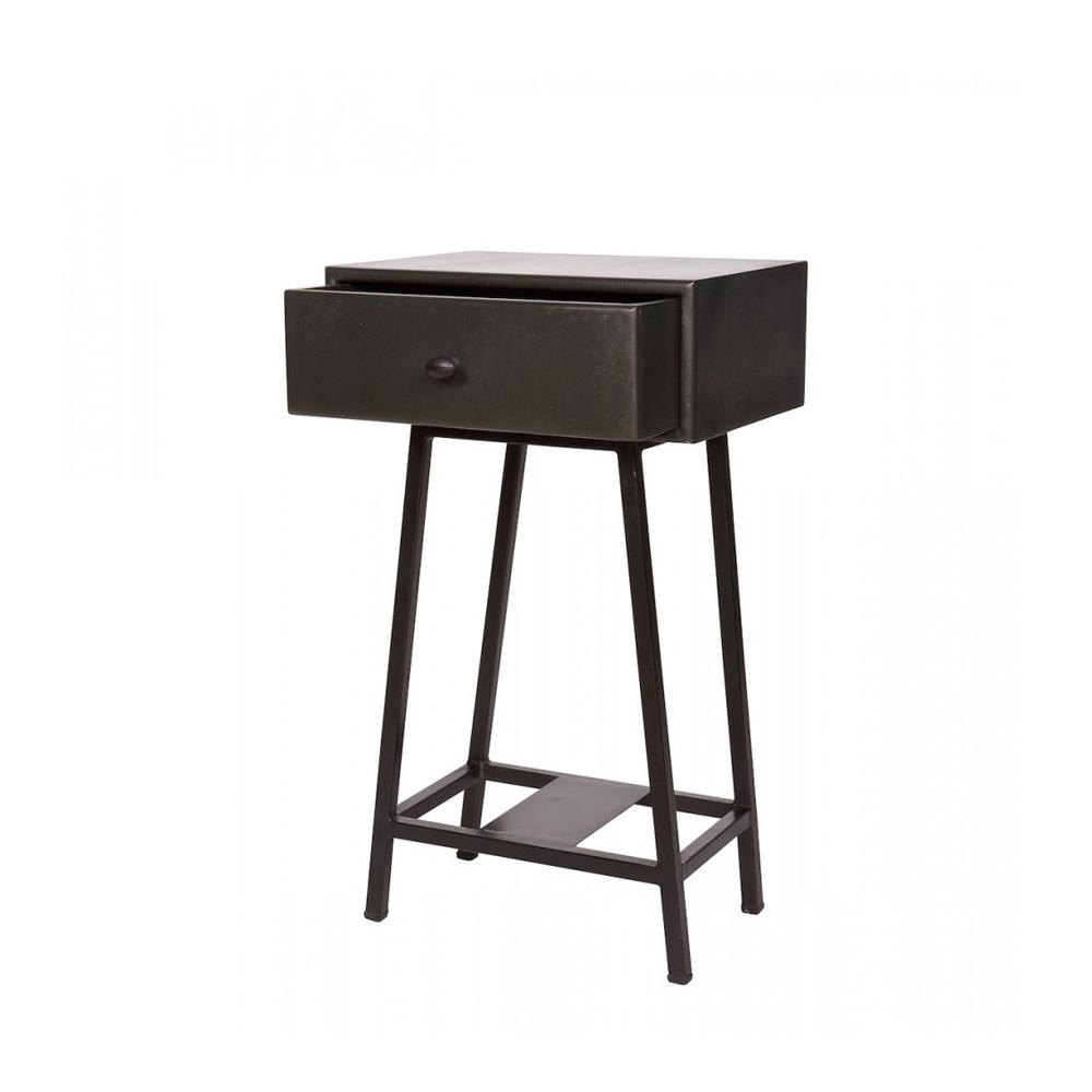 table d 39 appoint bois m tal vintage frem par drawer. Black Bedroom Furniture Sets. Home Design Ideas