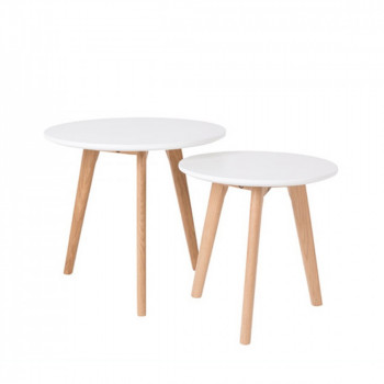 Lot de 2 tables d'appoint bois et blanc scandinave Bodine
