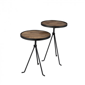 Lot de 2 tables d'appoint design en teck Tides