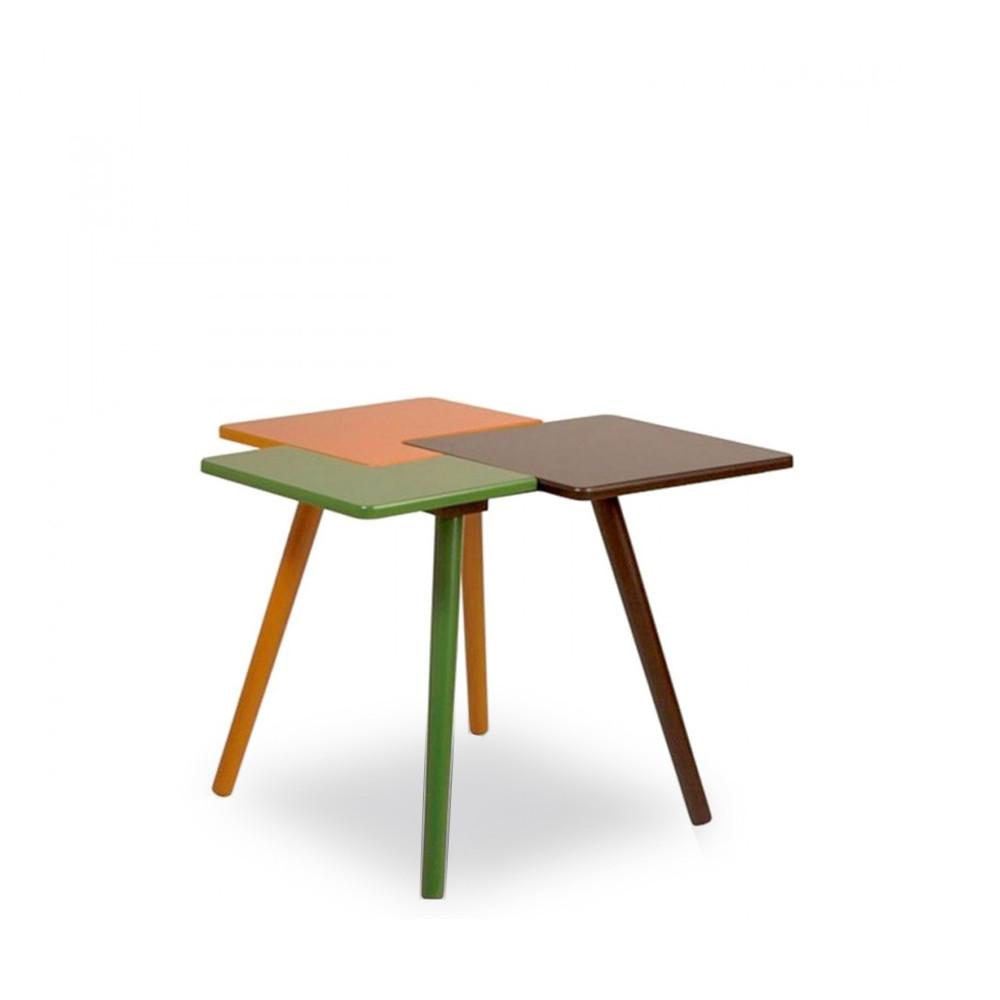 tables basse verte jaune et marron triple par. Black Bedroom Furniture Sets. Home Design Ideas