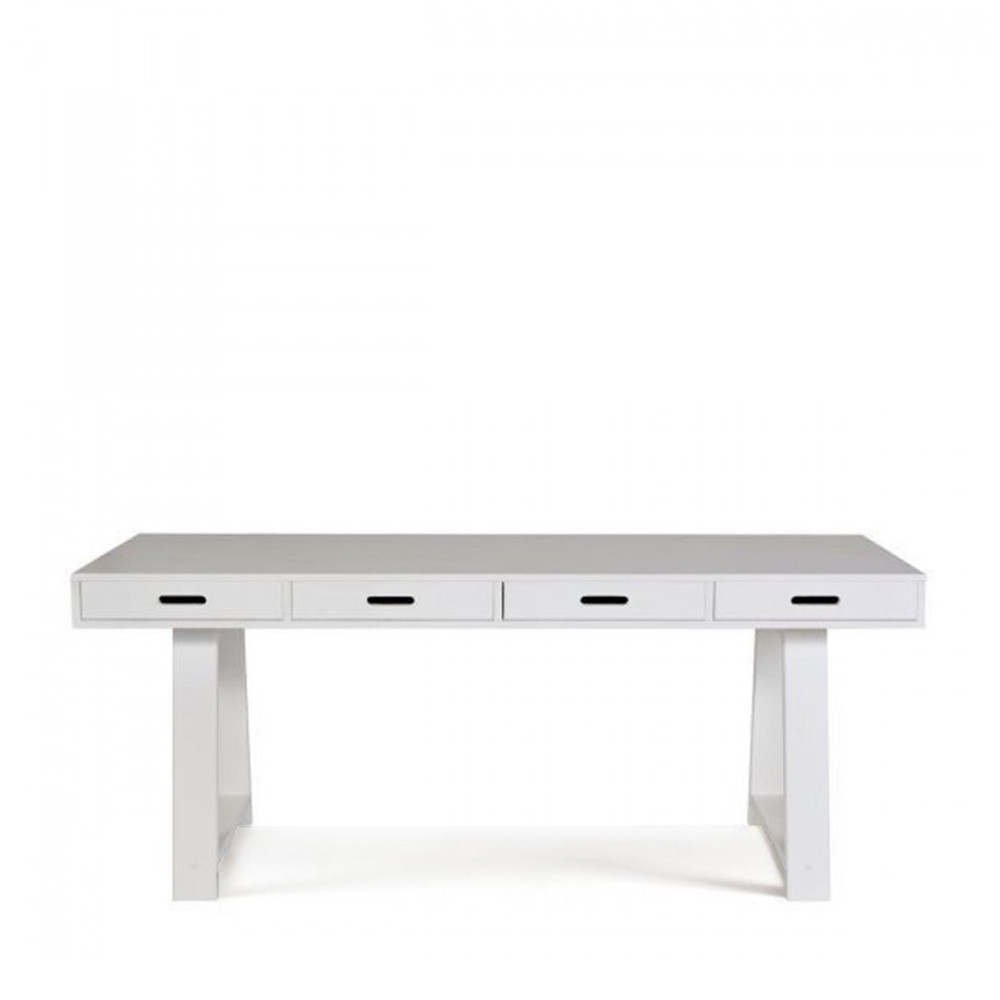 Bureau console 4 tiroirs en pin teuna for Bureau faible largeur