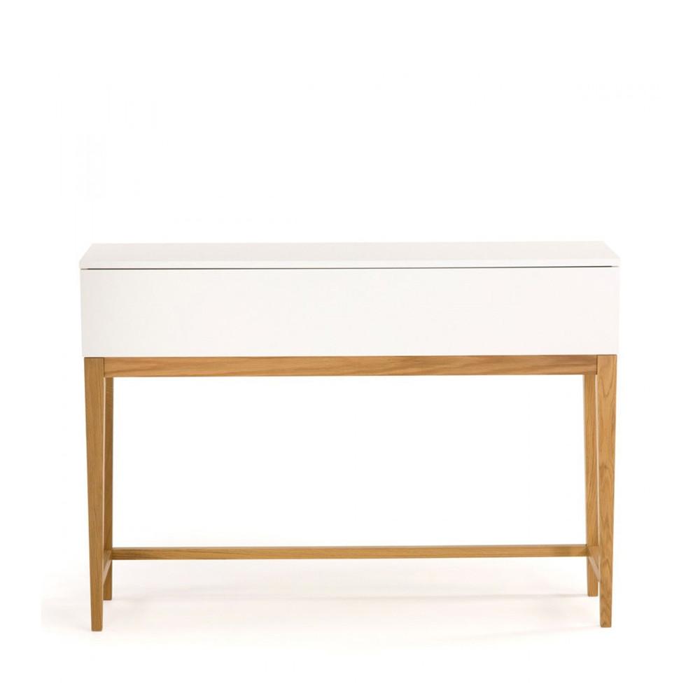Console 1 tiroir scandinave blanco for Table console avec tiroir