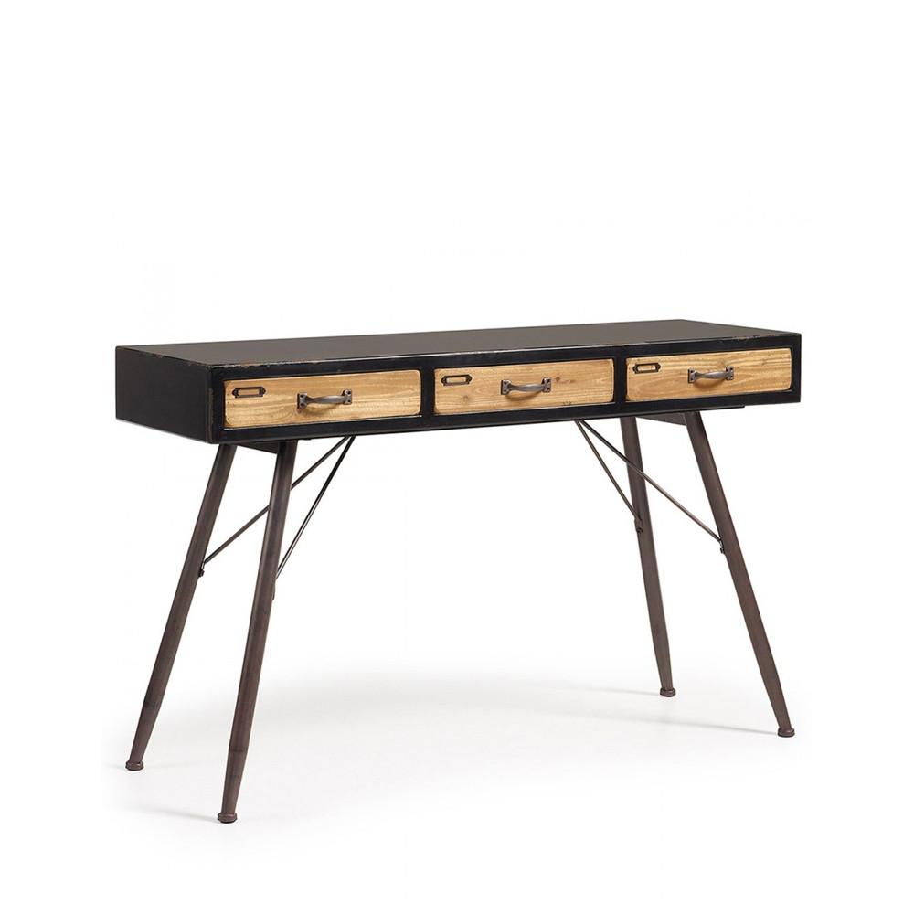 console industrielle en bois et m tal 3 tiroirs refe par. Black Bedroom Furniture Sets. Home Design Ideas