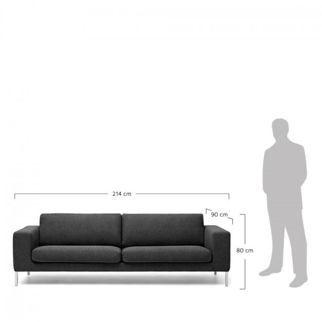 Canapé 3 places tissu et métal Biki