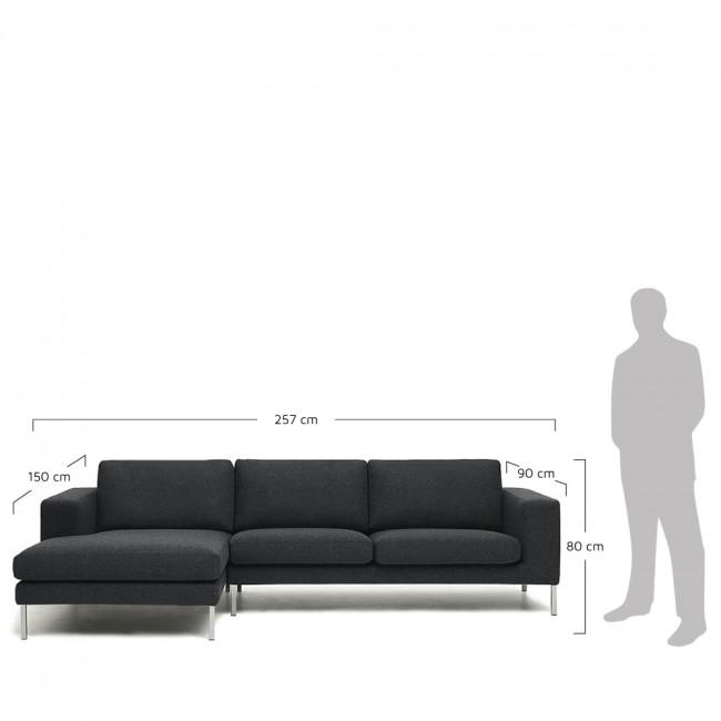 Canapé d'angle gauche tissu et métal Biki