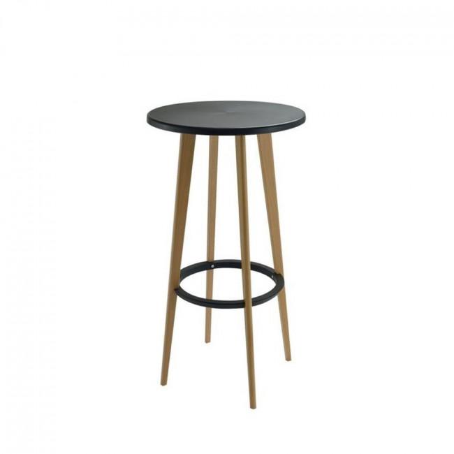 Table haute ronde blanche et bois design Harry's