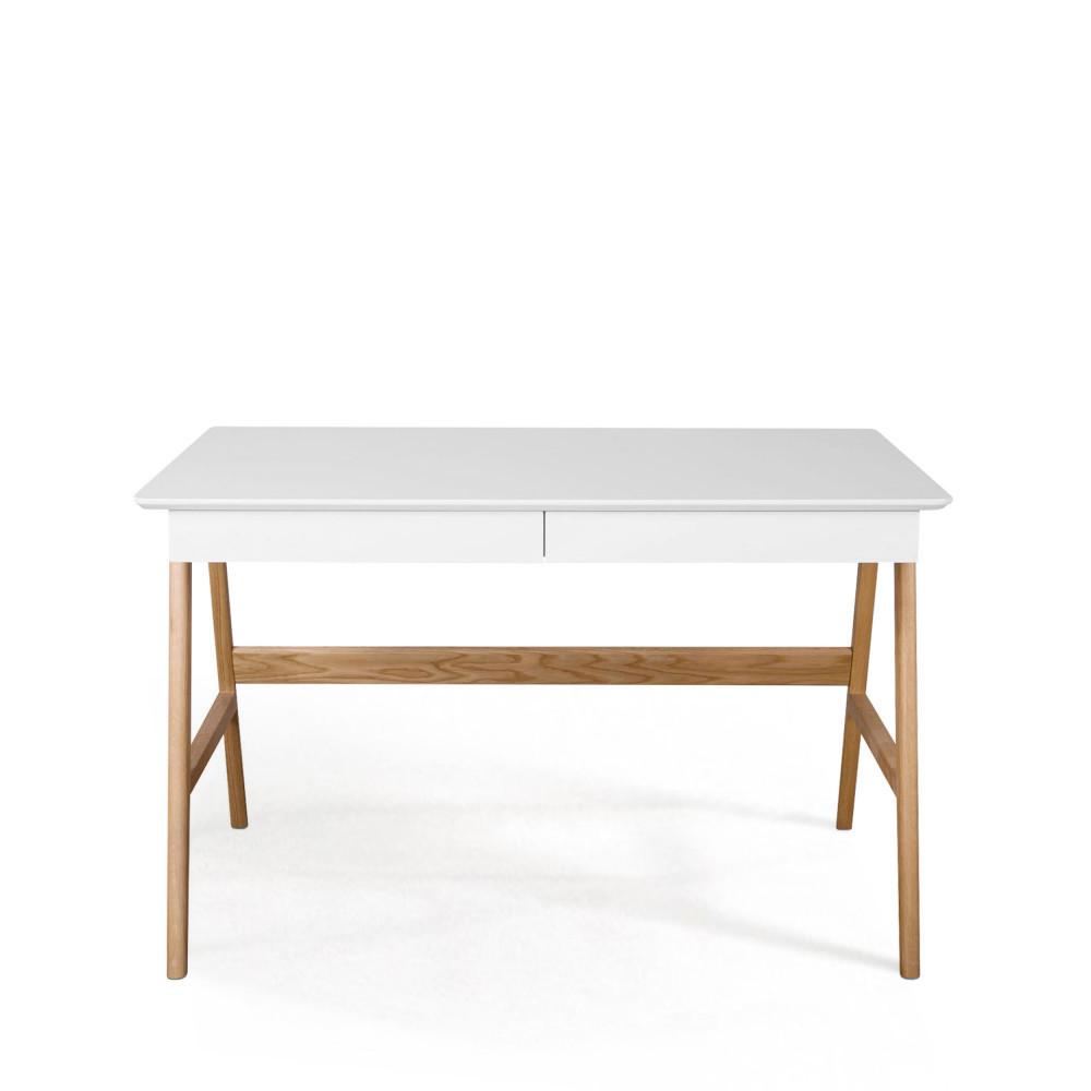 Bureau laqu ch ne blanc 120x70cm skoll look scandinave for Bureau bois scandinave