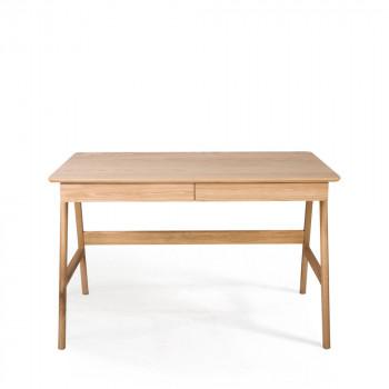 Bureau scandinave laque blanche et bois de chêne Skoll