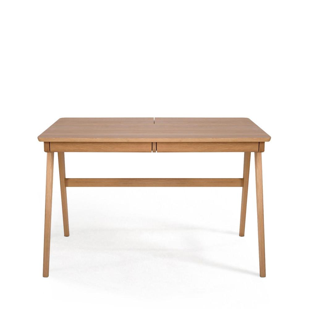 Bureau en ch ne 2 tiroirs washburn drawer for Bureau 2 tiroirs