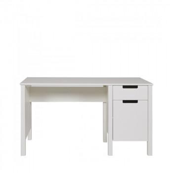 Bureau en pin 1 porte 1 tiroir Joop blanc