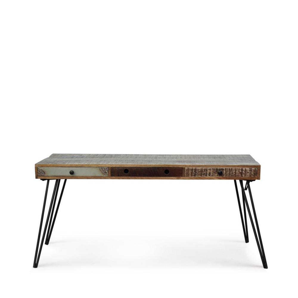Bureau design en bois jeux de couleurs et 3 tiroirs for Bureau design 3 suisses