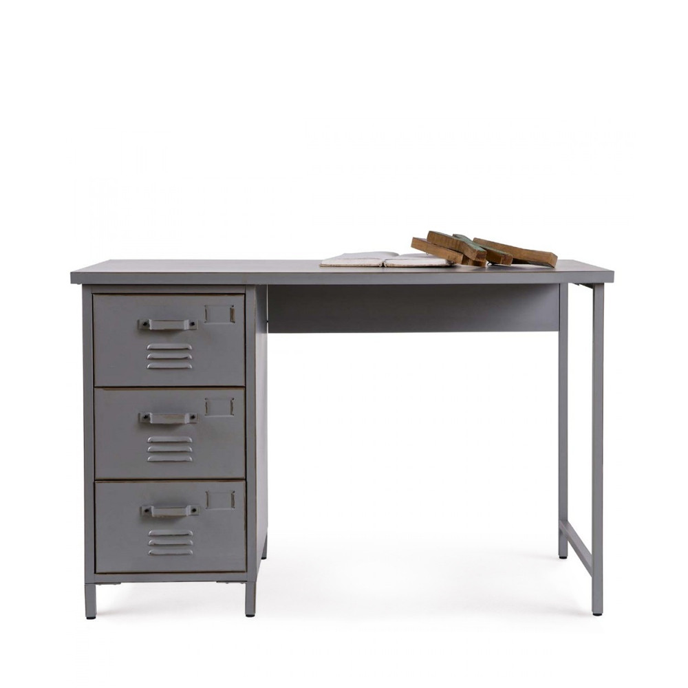 Bureau 3 tiroirs m tal maxim par drawer for Bureau 3 tiroirs biface